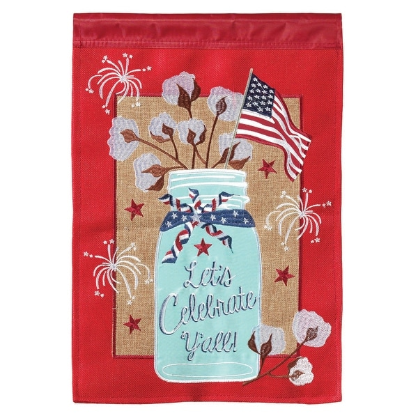 """Red and Blue """"Let's Celebrate Y'all"""" Printed Rectangular Garden Flag 18"""" x 13"""" - N/A"""