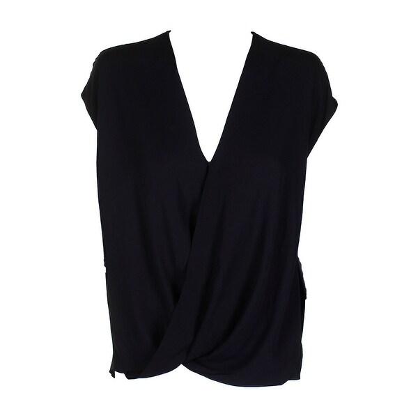 d2fc7c5677 Shop Lauren Ralph Lauren Black Draped Relaxed-Fit Georgette ...
