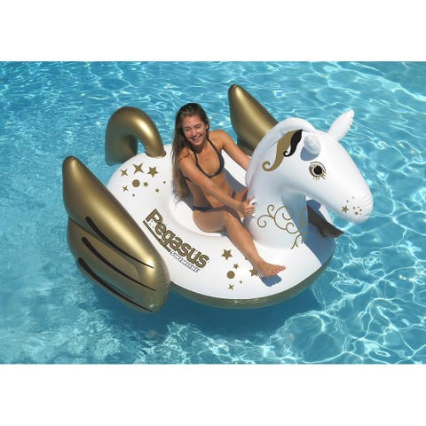 "64"" Inflatable Gold and White Giant Mythical Pegasus Swimming Pool Ride-On Lounge"