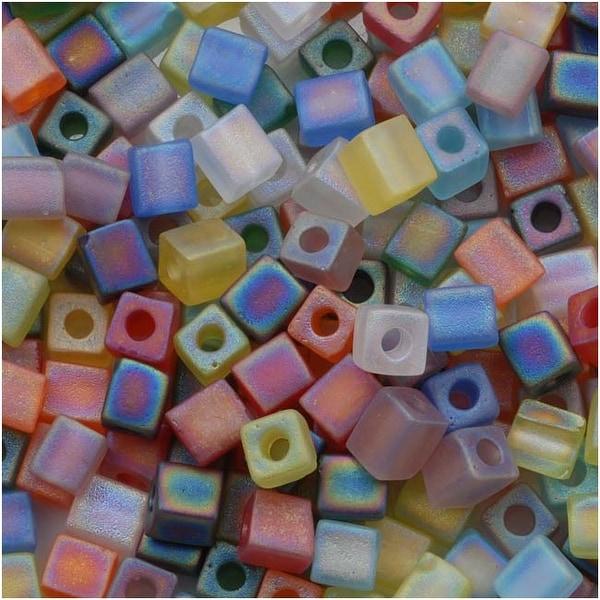 Miyuki 4mm Glass Cube Bead Mix 'Matte Transparent Rainbow AB' 10 Grams