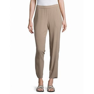Eileen Fisher NEW Beige Women's Size Medium M Elastic-Waist Pants Silk