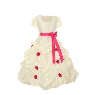 Rain Kids Ivory Fuchsia Pickup Pageant Flower Girl Dress Girls 2T