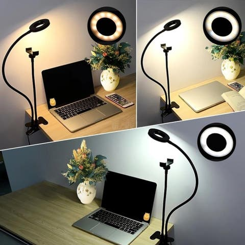 """LED Ring 3.5"""" Light/Lamp by Indigi - USB Power w/ Inline Dimming [Desk Clip & Phone Mount Included]"""
