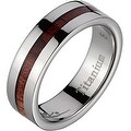 Titanium Wedding Band With Koa Wood Inlay & Wide Edges 6 mm - Thumbnail 0