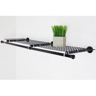 Hermosa Home Decorative Steel Double Shelf Organizer with Hanger - Black