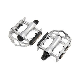 Father  s Day Gift l 2pcs Silver Tone Aluminum Alloy Anti Slip Reflector Pad Pedals for Bicycle