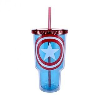 Silver Buffalo MV4717 Marvel Captain America Shield Plastic Cold Cup, 32 Oz