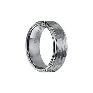 COLE Raised Hammer Textured Finish Tungsten Ring with Polished Step Edges by Triton Rings - 8mm