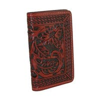 3 D Belt Company Men's Leather Tooled Business Card Holder, Brown - One size