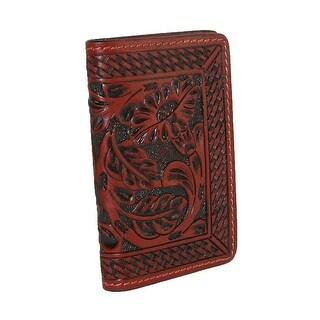 3 D Belt Company Men's Leather Tooled Business Card Holder, Brown