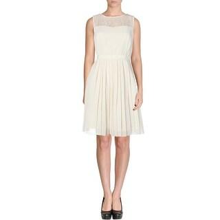 Kensie Womens Casual Dress Lace Yoke Pleated