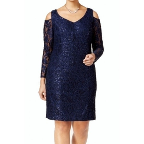 113365362eaac Shop Alex Evenings NEW Blue Cold SHoulder Women s Size 18W Plus Sheath -  Free Shipping On Orders Over  45 - Overstock - 18742018
