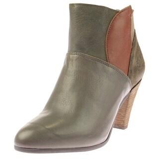 FLY London Womens Gena Booties Leather Cone Heel