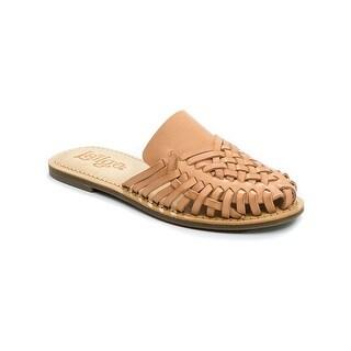 Latigo Womens Hibiscus Leather Closed Toe Slide Flats