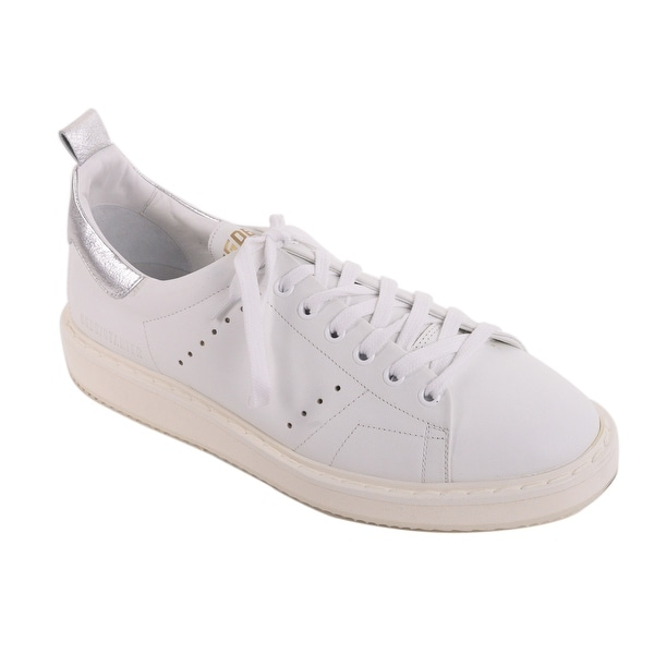 9ece1a3ff0 Shop Golden Goose White Leather Silver Superstar Sneakers - Free ...