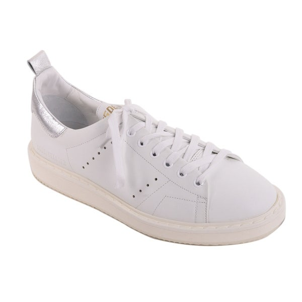 23e3904f27e6 Golden Goose Womens White Leather Silver Superstar Sneakers - Free Shipping  Today - Overstock - 27948568