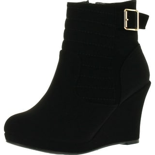 Top Moda Cotton 16 Womens Buckle Wedge Ankle Booties Black
