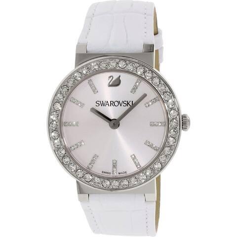 Swarovski Women's 1185826 'Citra Spehere' Crystal White Leather Watch