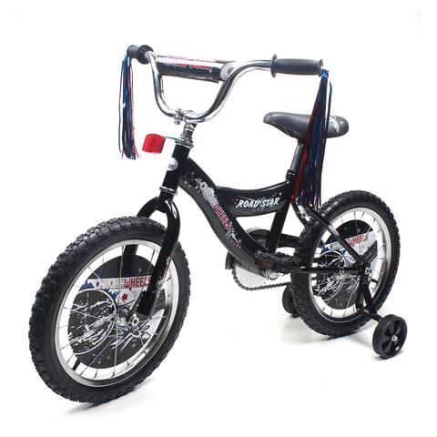 "ChromeWheels Road Star 16"" BMX S-Type Frame Coast Brake, Chrome Rims with EVA Black Tire, Training Wheels"