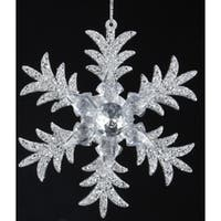 "5"" Seasons of Elegance Six Point Silver Glittered Snowflake Christmas Ornament"