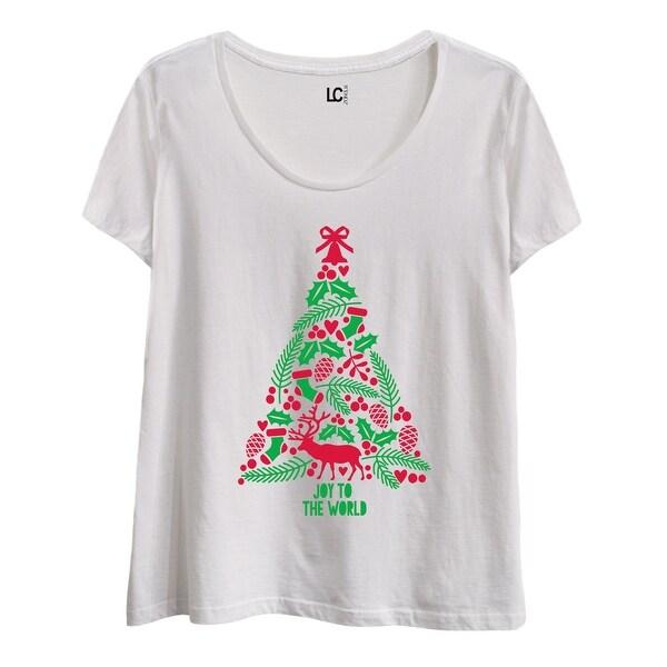 Joy To The World Tree-Ladies Plus Size Scoop Neck Tee
