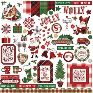 "Mad 4 Plaid Christmas Stickers 12""X12""-Elements"