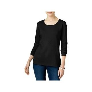 Karen Scott Womens Petites Casual Top Scoop Neck Long Sleeves