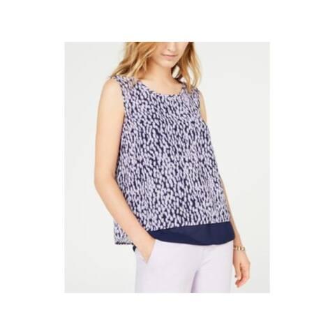 MICHAEL KORS Womens Purple Printed Sleeveless Jewel Neck Top Size L