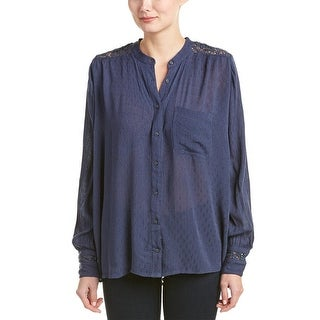 Free People The Best Button Down Embroidered Long Sleeve Blouse Navy - xs