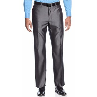 Alfani Black Label Regular Fit Shiny Herringbone Dress Pants Grey 30 x 30