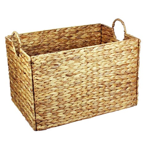 """Large Wicker Seagrass Baskets Hampers Set of 2 Ear Handles - 21""""w x 14.5""""d x 16.5""""h"""