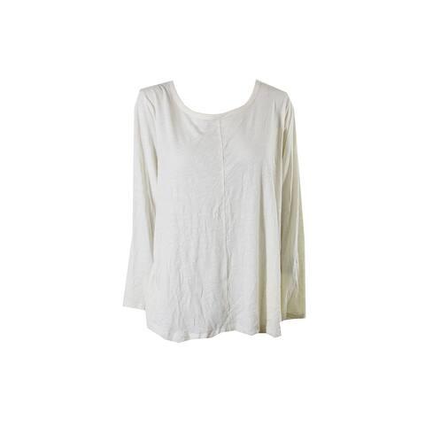 Style Co Plus Size Ivory Long-Sleeve T-Shirt 3X