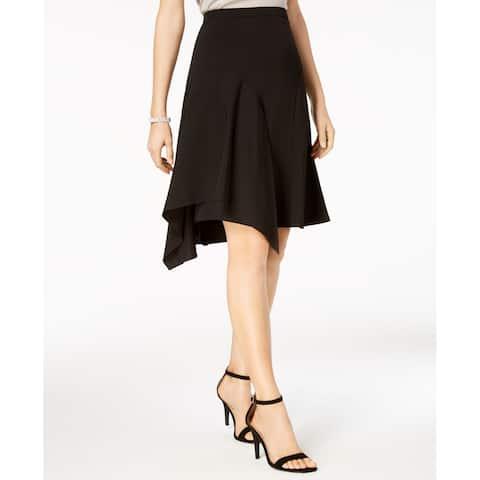 MSK Women's Skirt Rich Black Size 8P Petite A-Line Sharkbite-Hem