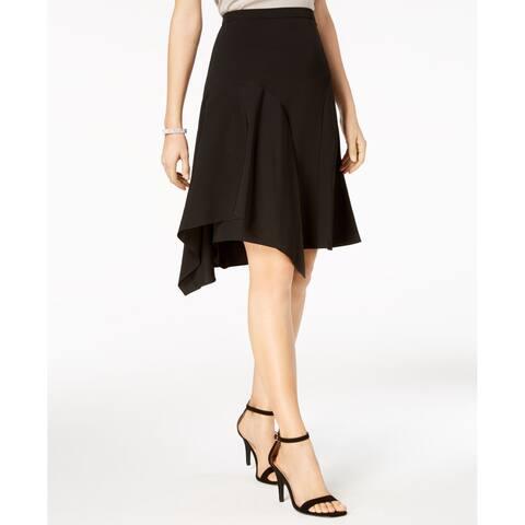 MSK Womens Skirt Black Size 12P Petite A-Line Sharkbite-Hem Pleated