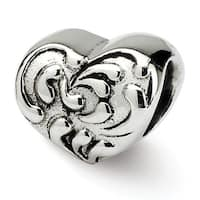 Sterling Silver Reflections Scroll Heart Bead (4mm Diameter Hole)