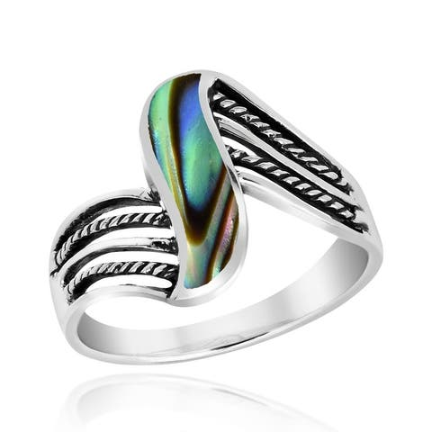 Handmade Contemporary Flowing Waves Abalone Shell Inlay Sterling Silver Ring (Thailand)