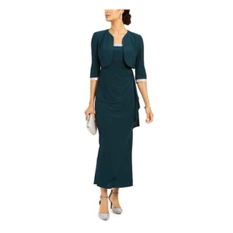R&M RICHARDS Green 3/4 Sleeve Below The Knee Dress 6