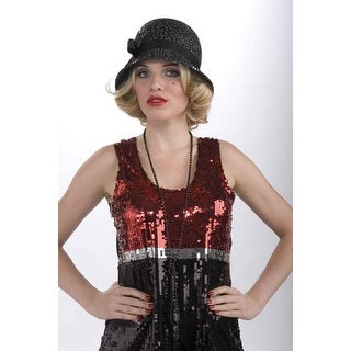 Deluxe Sequin 20's Flapper Costume Hat - Black One Size