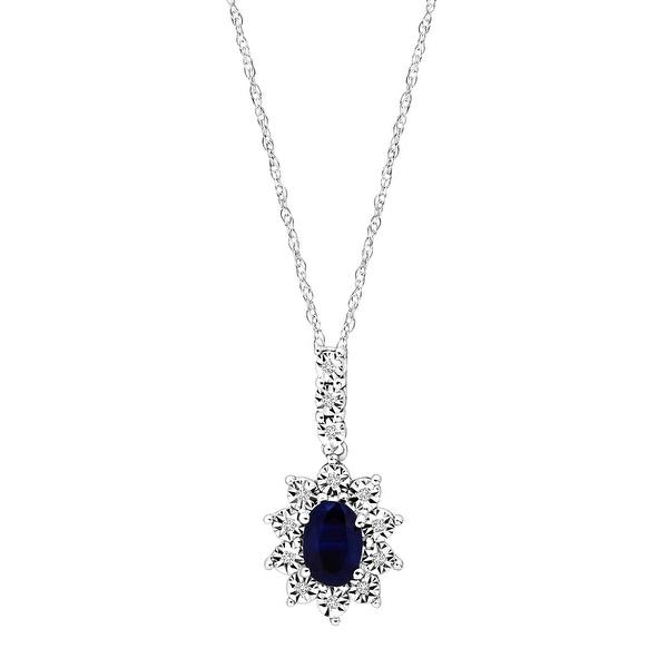 5/8 ct Natural Kanchanaburi Sapphire Pendant with Diamonds in 10K White Gold - Blue