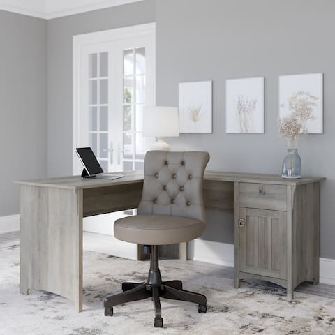 Salinas 60W L Desk with Mid Back Tufted Office Chair by Bush Furniture