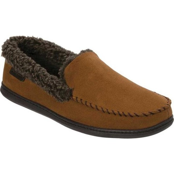 64bee009a44 Dearfoams Men  x27 s Microsuede Whipstitch Moccasin Slipper Chestnut  Microsuede