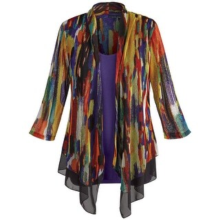 Women's Tunic Jacket - Colorful Striped Sheer Open Front Cardigan