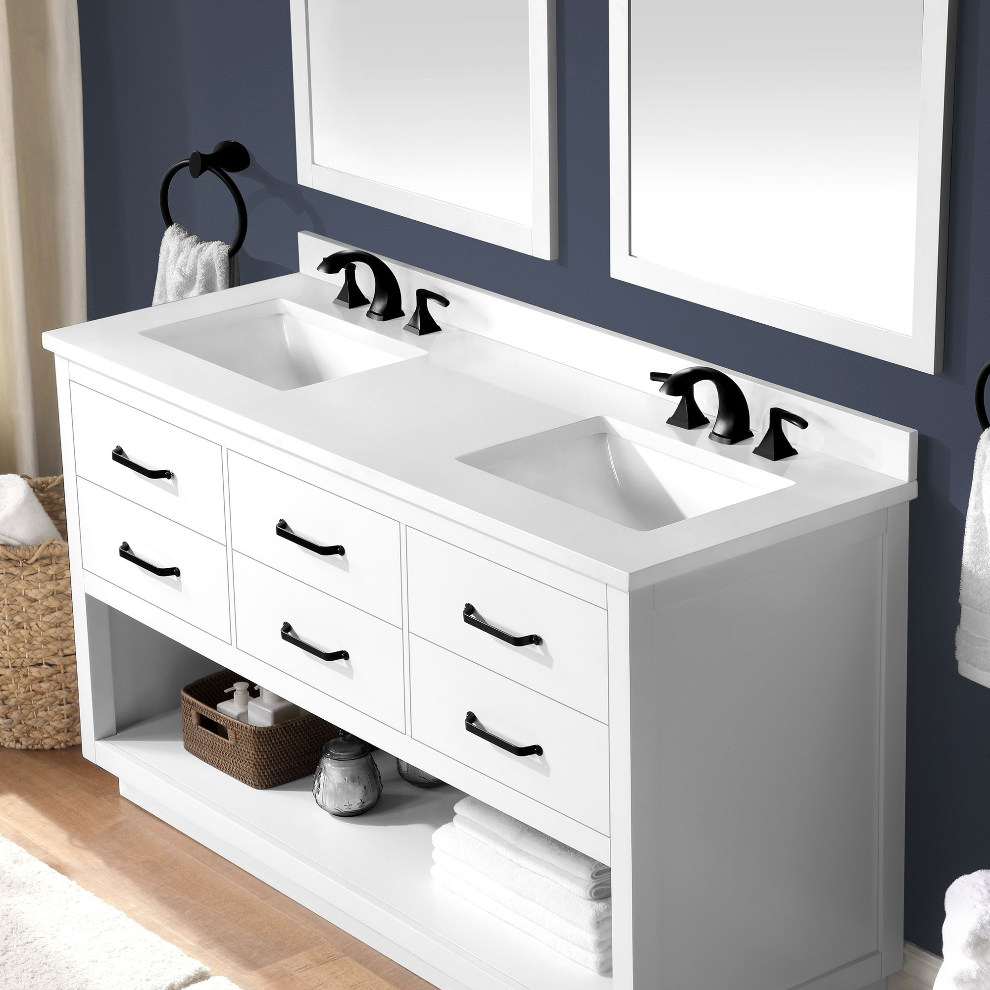 Ove Decors Carran 60 In Vanity White Finish And Black Hardware On Sale Overstock 32539757