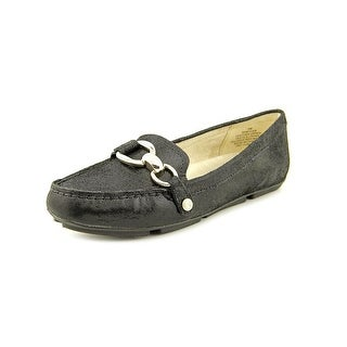 Anne Klein Myles Women Square Toe Leather Black Loafer