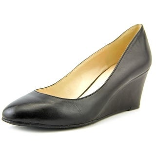 Nine West Ispy Women Open Toe Leather Black Wedge Heel
