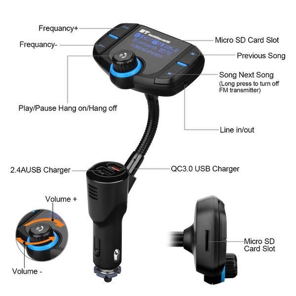 Shop AGPtek Bluetooth 4 2 FM Transmitter Wireless In-Car Radio