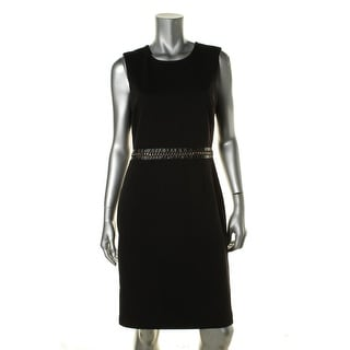 Calvin Klein Womens Faux Leather Chain-Trim Wear to Work Dress