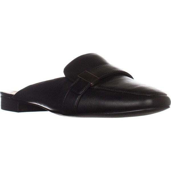 A35 Aidaa Open Heel Loafers, Black Leather