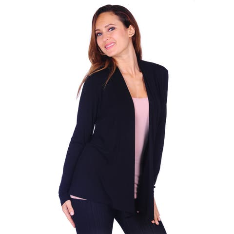 7bc98035bee Simply Ravishing Women s Long Sleeve Draped Open Front Cardigan (Size  ...