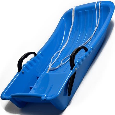 "Image 31.5"" Kids Snow Sled Plastic Toboggan Boat Sledge Snowboard Blue 31.5x15.7x5.3inch - SIZE"